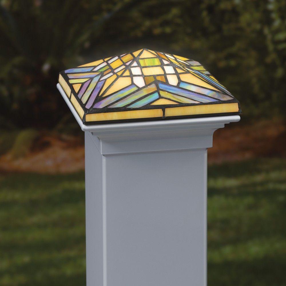 Deckorators 4x4 Filigreed Glass Solar Post Cap With Cedar Base Leaf Outdoor Post Lights Deck Post Lights Solar Garden Lanterns