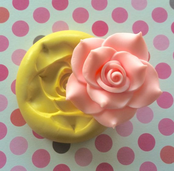 Large Big Rose Silicone Mold Wedding Topper Pmc Cake Charms Soap Cupcake Topper Cold Porcelain Gumpaste Fonda Flower Molding Silicone Molds Rose Molds