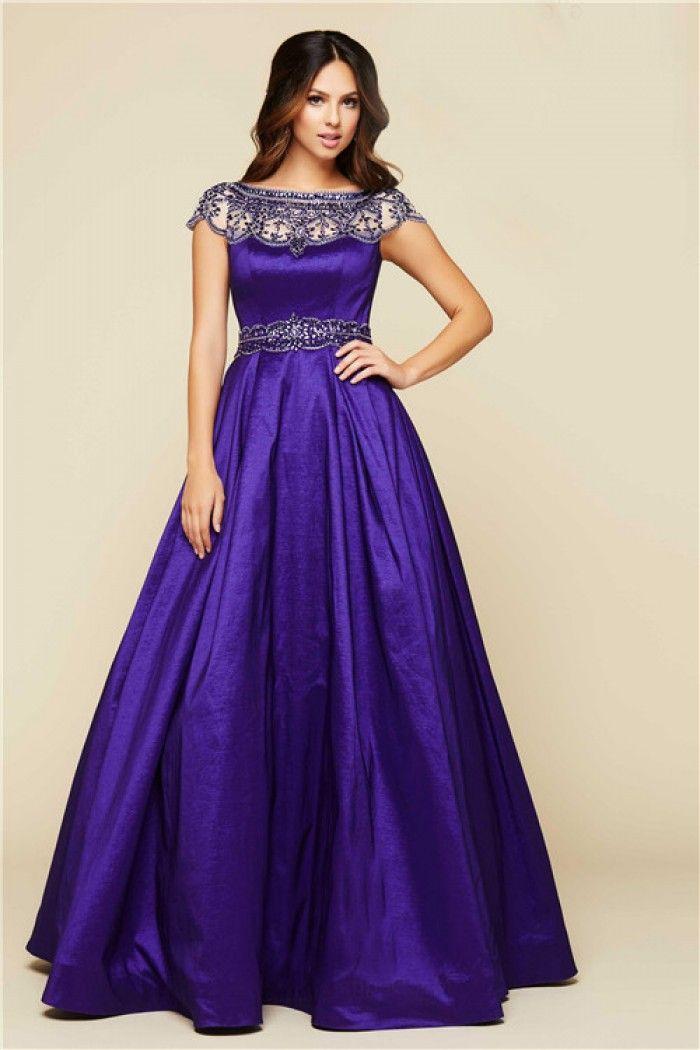 Modest Ball Gown Bateau Neck Cap Sleeve Purple Taffeta Beaded Prom ...