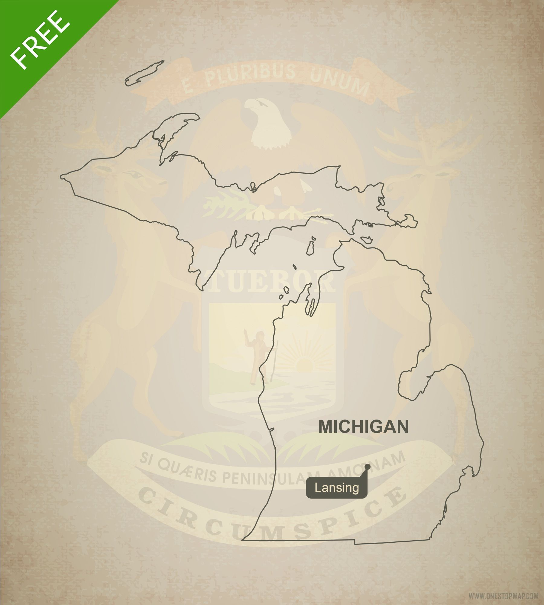 Free vector map of michigan outline free maps outlines and pdf free map of michigan blank outline map adobe illustrator ai eps pdf gumiabroncs Choice Image