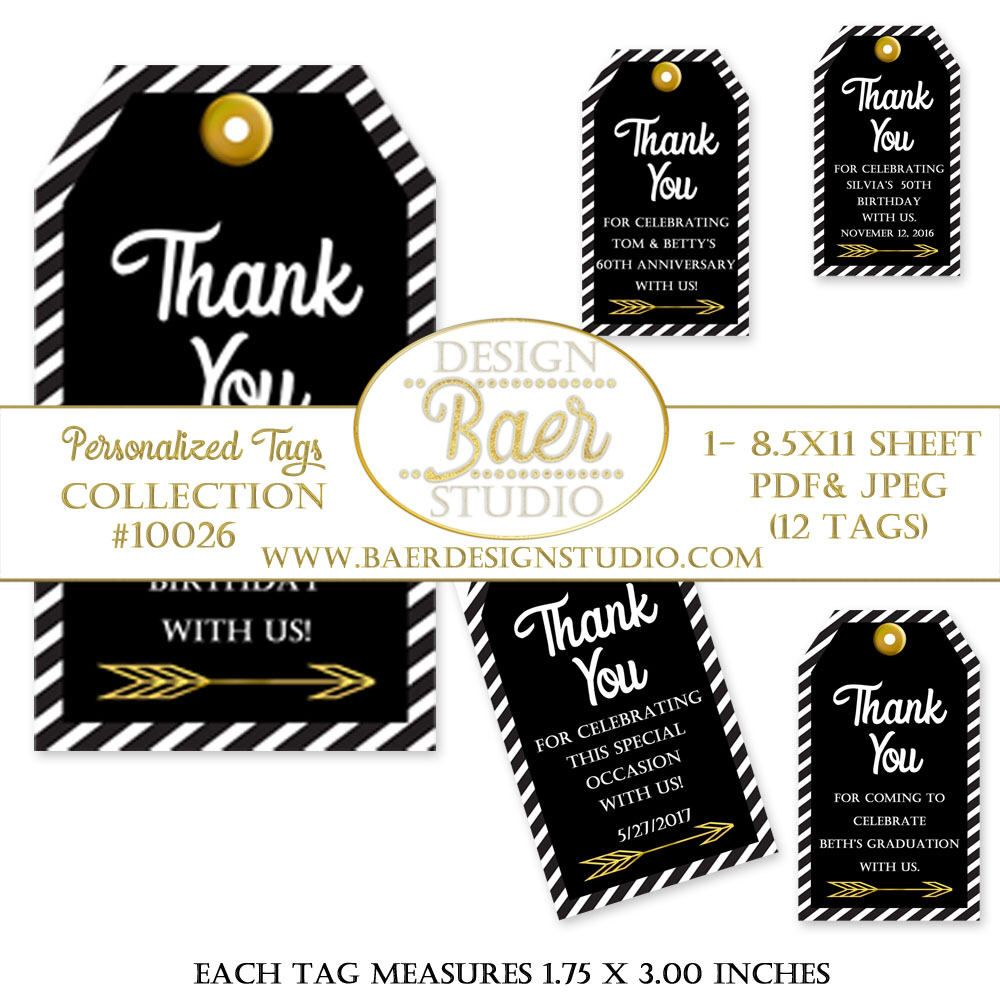 Black and Gold Tags:Printable Tags, Party Favor Tags, Personalized ...