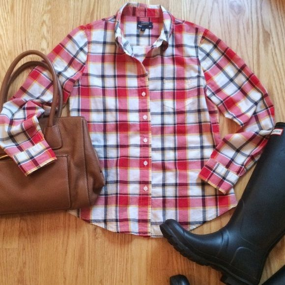 "Gap Plaid Shirt Red, white, yellow and navy ""boyfriend fit"" button up shirt.  Thin cotton, not thick flannel material.  Worn a few times but no visible signs of wear. GAP Tops Button Down Shirts"