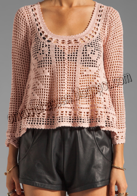 Hello everyone,today  I dragged a Charming blouse with filet crochet  technique,  Amazing summer model, It's not my job! It is a design of...