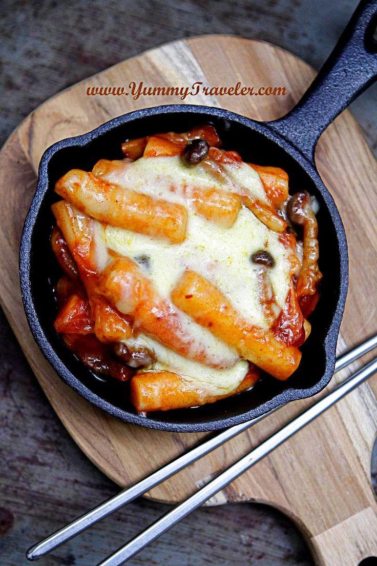 The Yummy Traveler: Recipe : Baked Cheese Tteokbokki ( Korean Spicy Rice  Cake With Cheese