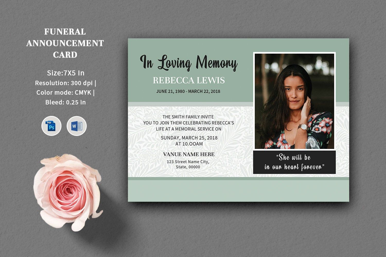 Funeral Announcement and Invitation Card Template | MS Word & Photoshop  Template | Instant Download | V08 | Funeral program template, Funeral,  Invitations