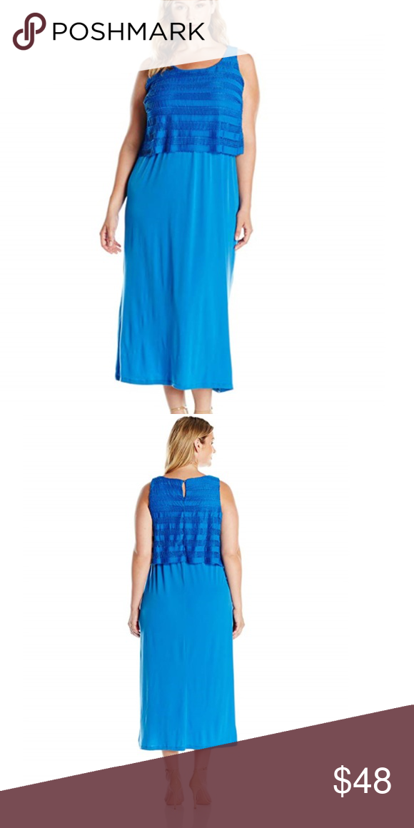 8f9ee061431 New Blue 3X Maxi Dress  b05 NY Collection Women s Plus Size Solid Sleeveless  Scoop Neck
