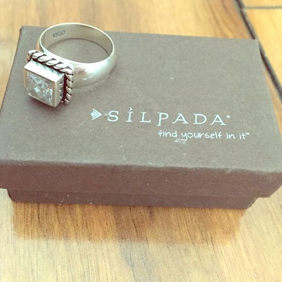 Silpada ring Sterling silver, chunky square ring, comes with original box Silpada Jewelry Rings