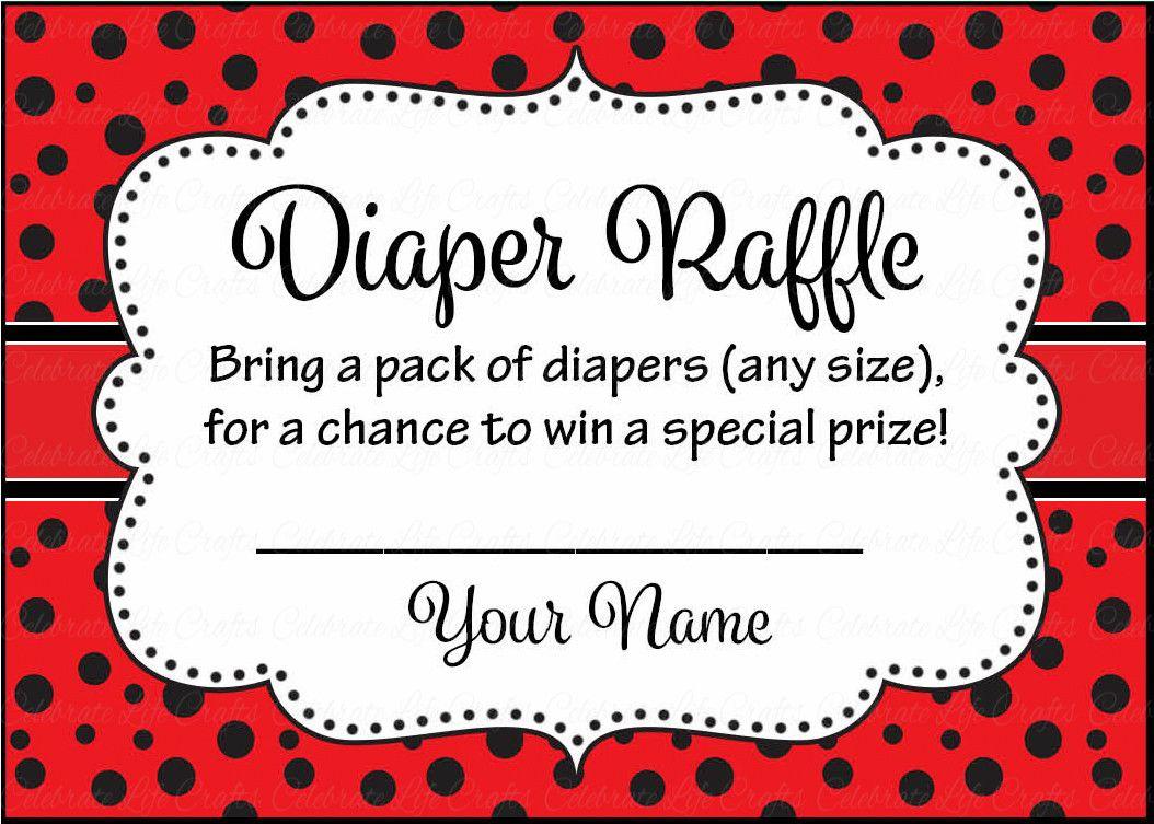 Diaper Raffle Tickets - Printable Download - Red Black Ladybug Baby ...