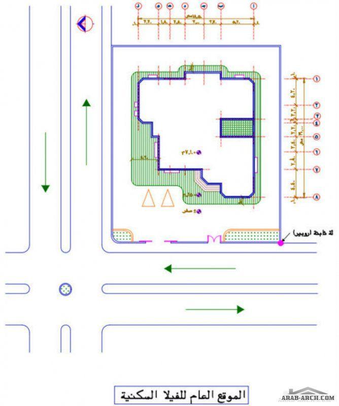 مشروع فيلا سكنية دورين كاملة الرسومات House Layout Plans Square House Plans Model House Plan