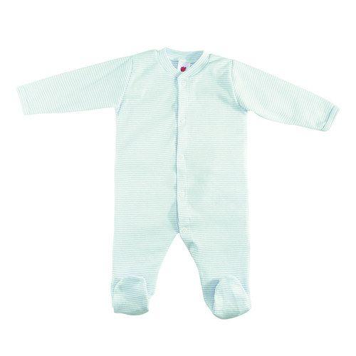 Schlafanzug 1tlg. mit Fuß Gr. 50/56 - Türkis-Weiß