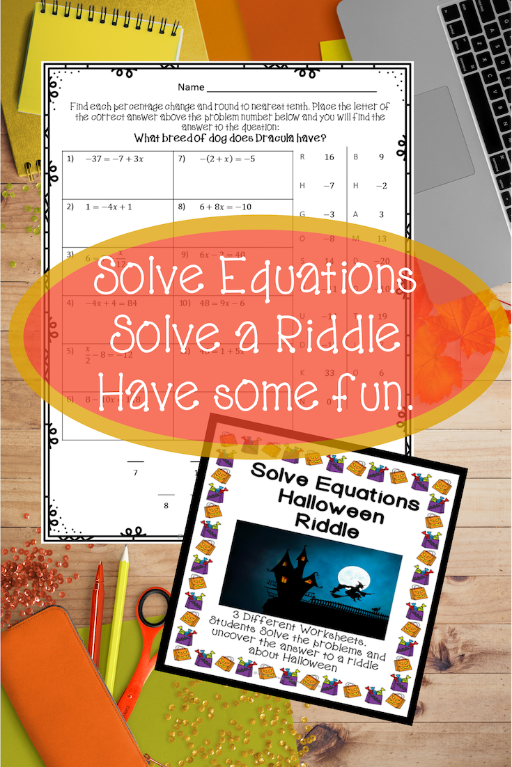 Solving Equations Halloween Riddle Solving equations