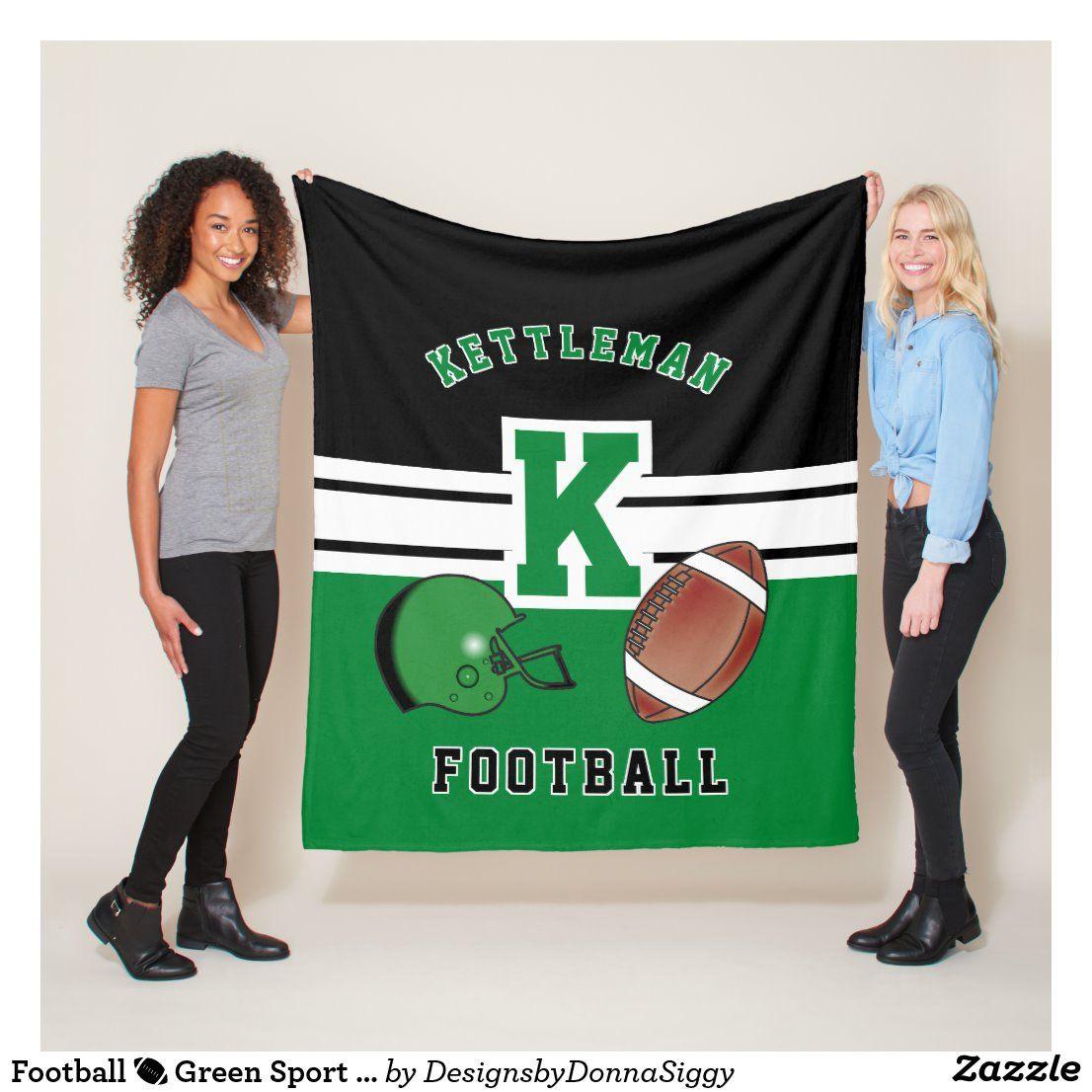 Football 🏈 Green Sport Letter Fleece Blanket