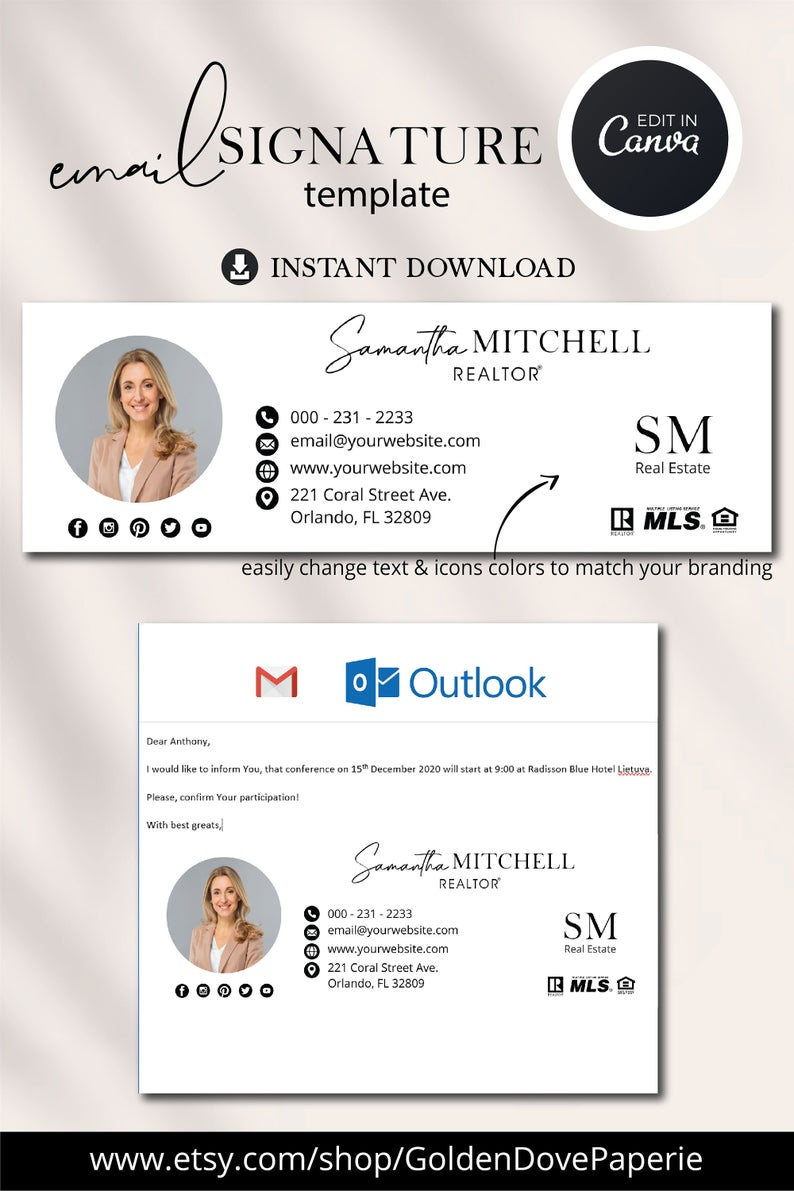 Realtor Email Signature With Logo And Picture Gmail Etsy In 2021 Email Signature Design Email Signature Templates Email Signatures