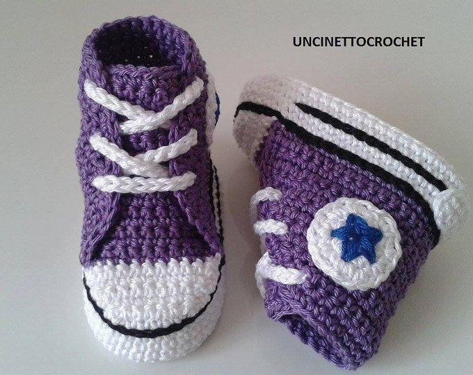 CONVERSE PATTERN All Star Baby crochet converse-newborn sneakers ...