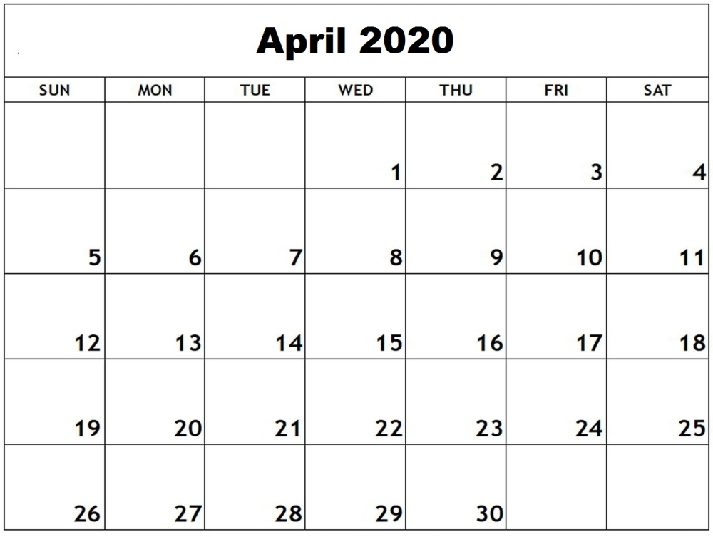 April 2020 Calendar Excel Calendar Template September Calendar 2020 Calendar Template