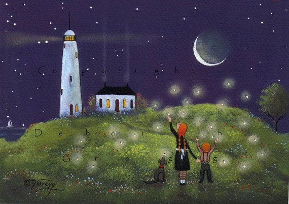 """Fireflies on the Wind"" original painting by Deborah Gregg / lighthouse"