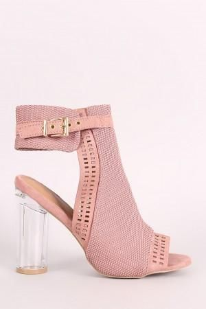 2c602bc9b97 Qupid Perforated Suede Chunky Lucite Heeled Mule Booties Pink Heels