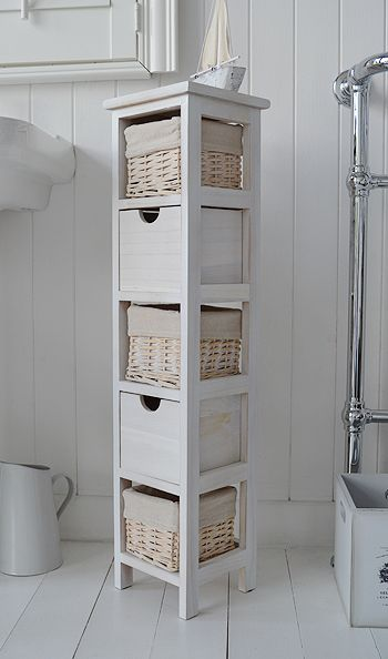 The White Lighthouse Bathroom Furniture Slim 20 Cm Wide Cape Cod Narrow Storage Furnitue With 5 Drawers And Baskets