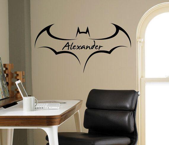 Custom Name Batman Wall Decal Superhero Emblem By USAmadeproducts