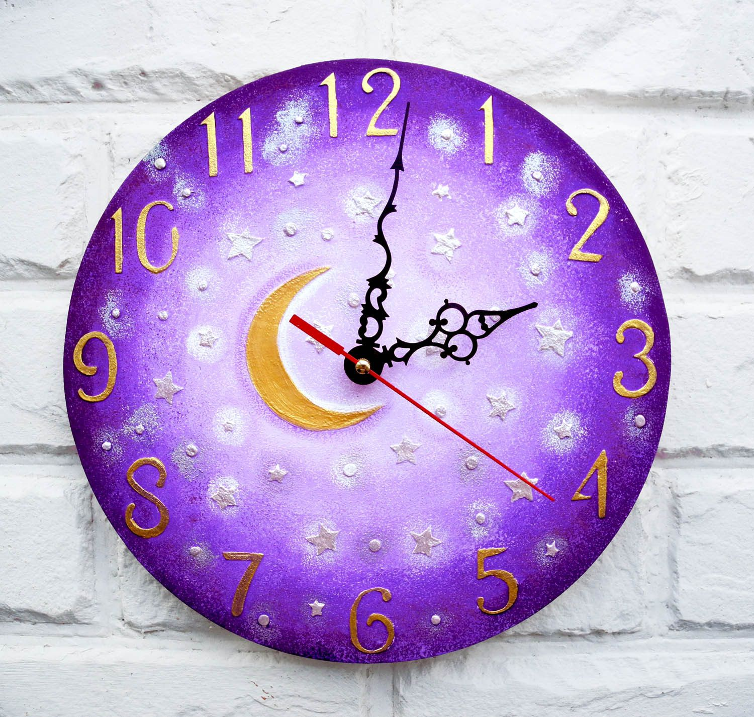 The Purple Moon And Stars Wall Clock Home Decor For Children Baby