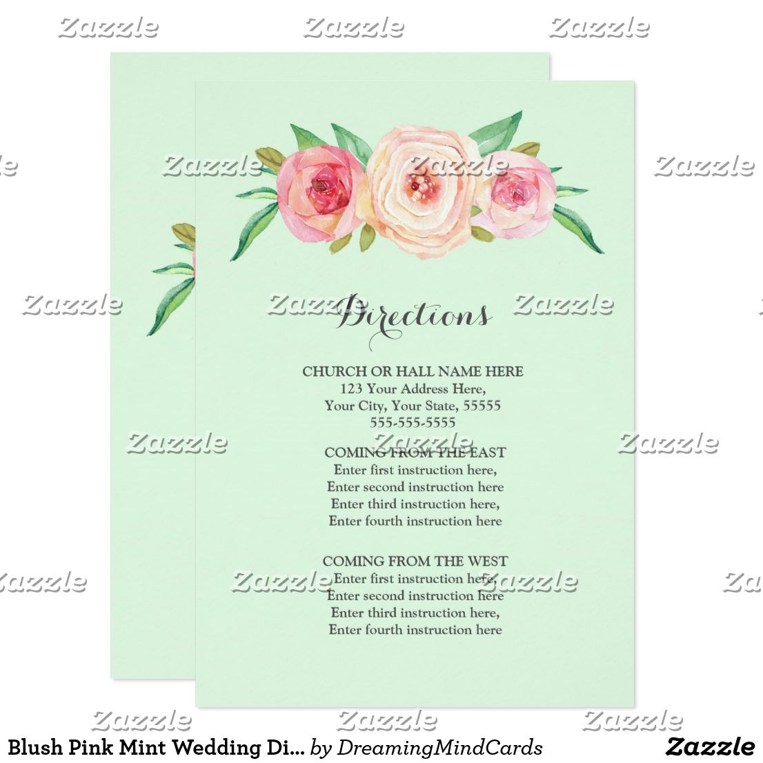 Blush pink mint wedding direction insert