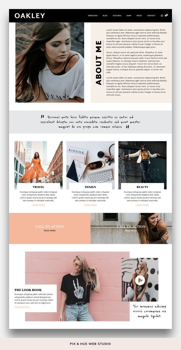 Oakley WordPress Theme | Feminine website design, Unique wordpress themes, Brand photography inspira