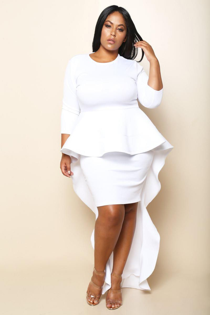 Modern Glam Plus Size Peplum Dress Dresses+ GS-LOVE | My Style in ...
