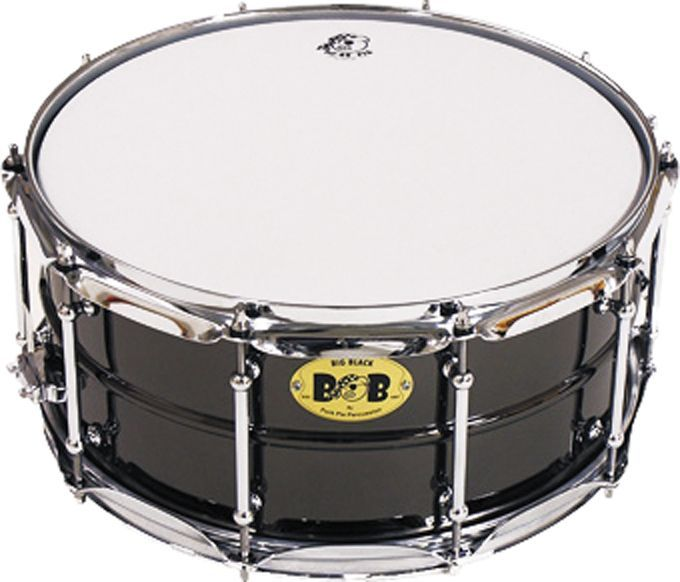 Pork Pie Big Black Brass Snare Drum with Tube Lugs Black with Chrome ...