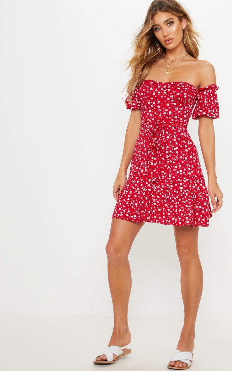 Red Ditsy Print Bardot Frill Hem Skater Dress Fit N Flare Dress Summer Dresses For Women Summer Dresses [ 1180 x 740 Pixel ]