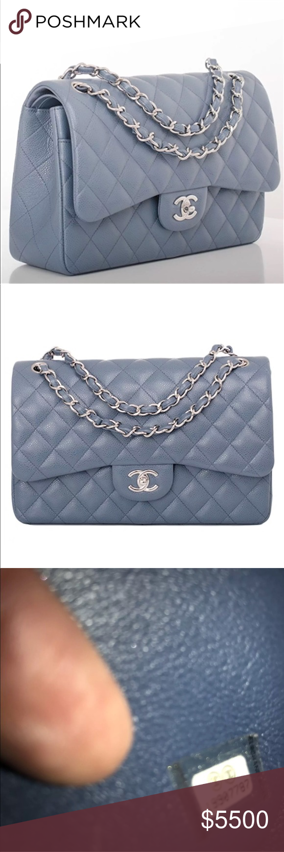 6e92c1865748 Chanel Caviar Double Flap Jumbo SHW FULL SET 100% Authentic Chanel Jumbo  double Flap in blue grey caviar with SHW. 14B Perfect classic in a timeless  yet ...