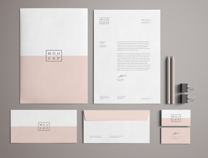 free high solution pink branding stationery mockup psd free web