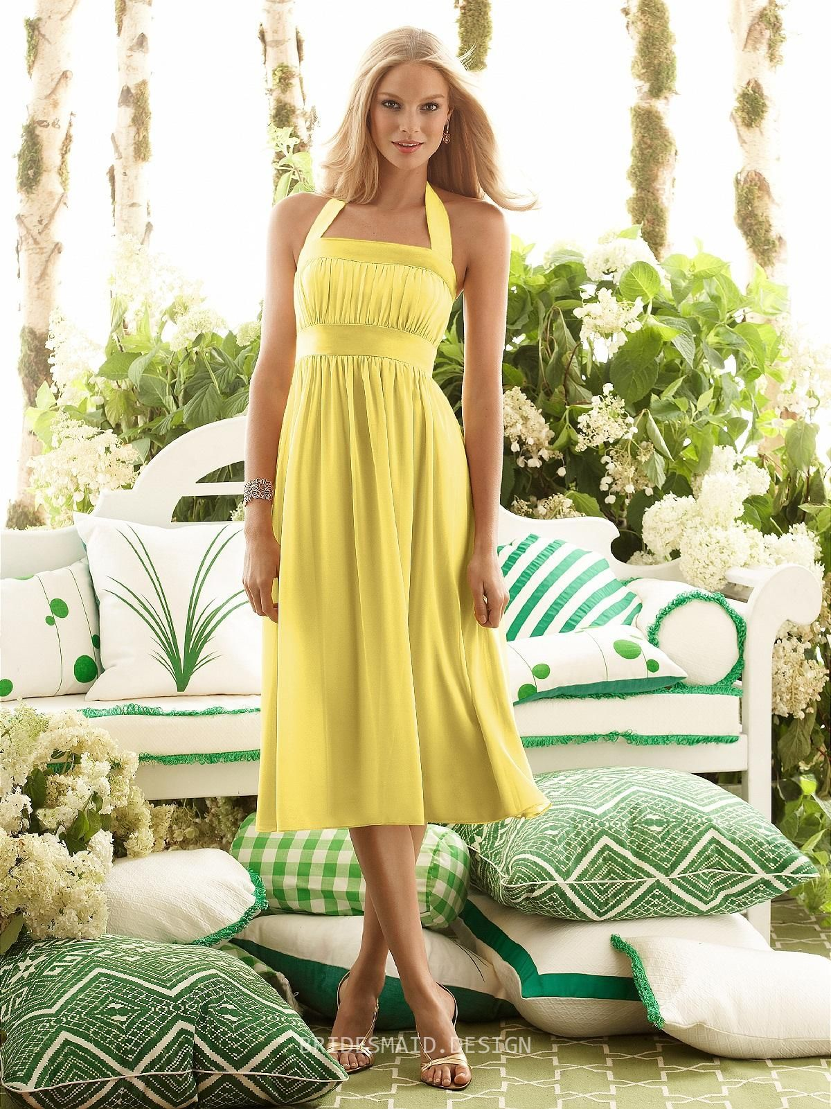 Straps Tea Length Yellow Bridesmaid Dresses