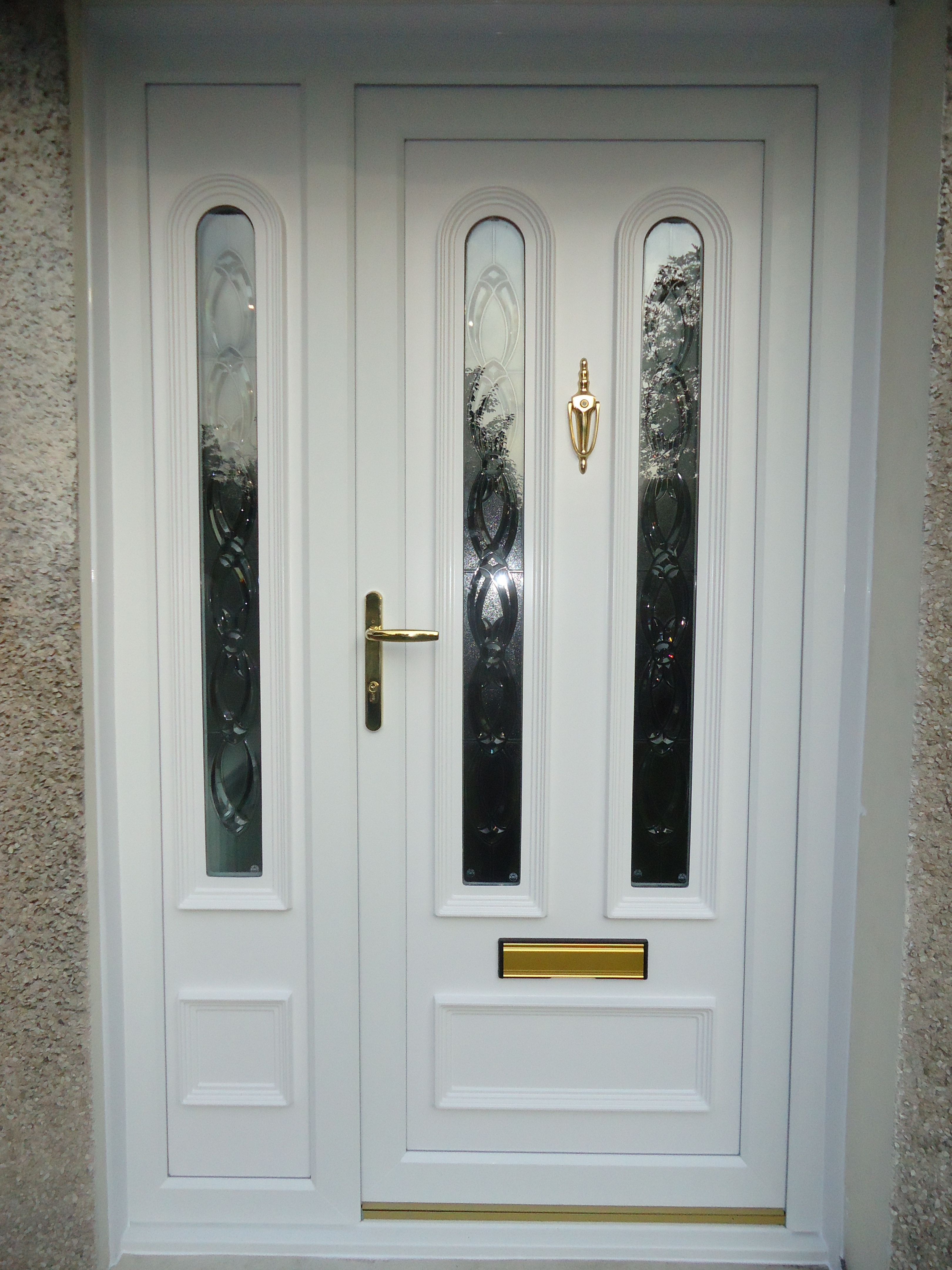 A Lovely White Pvc Panel Front Door With Side Screen To