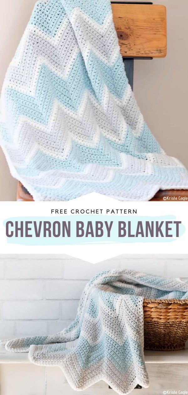 Chevron Baby Blanket Free Crochet Pattern The timeless chevron motif never fails us! It is especially useful in all kinds of patterns for blankets, bedspreads, and throws. This precious accessory for nurseries and strollers is so classic with its delightful pastel colors. Will you stick with baby blue? #crochetblanket #crochetbabyblanket #freecrochetpattern