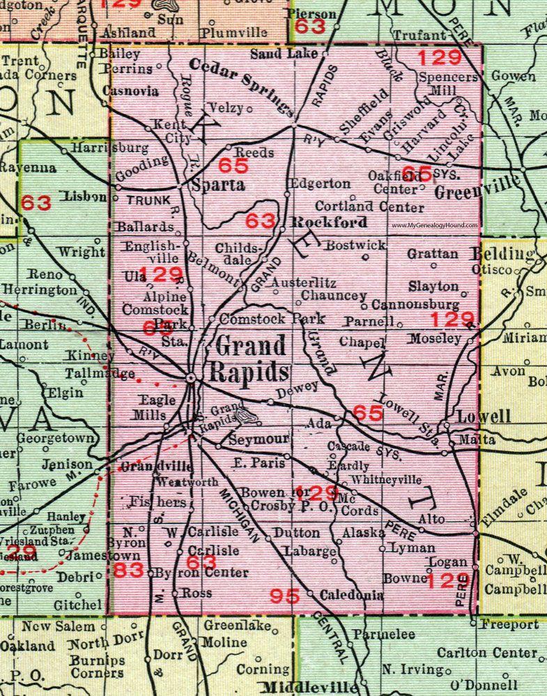Kent County Michigan 1911 Map Rand Mcnally Grand Rapids