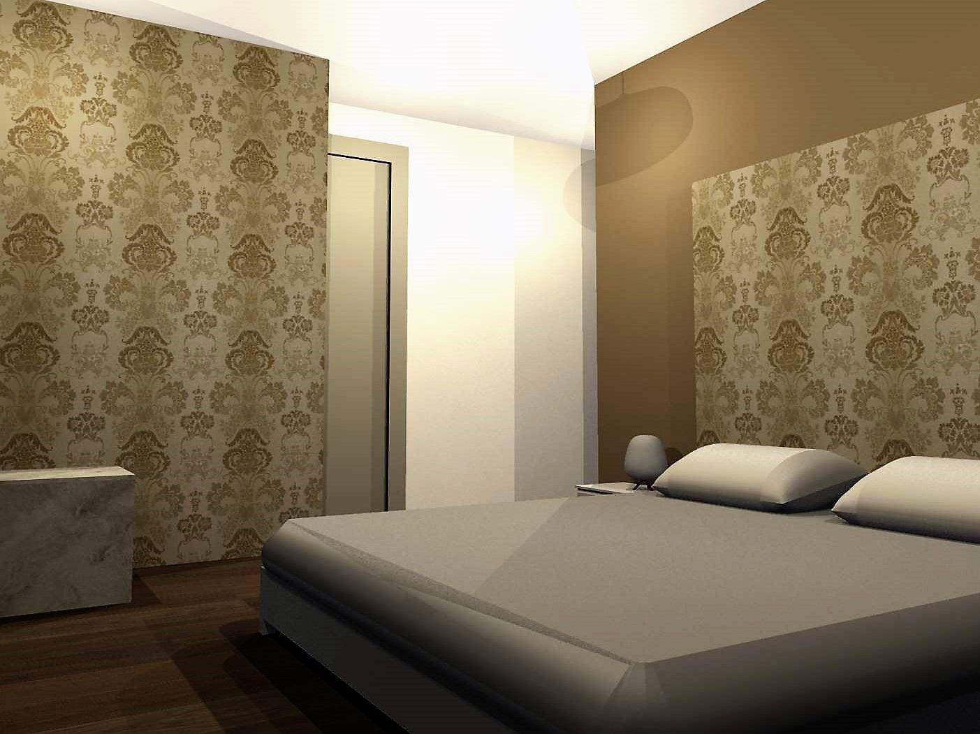 Gestaltungsvorschlag Schlafzimmer Mit Ornament Tapete Und Wanden