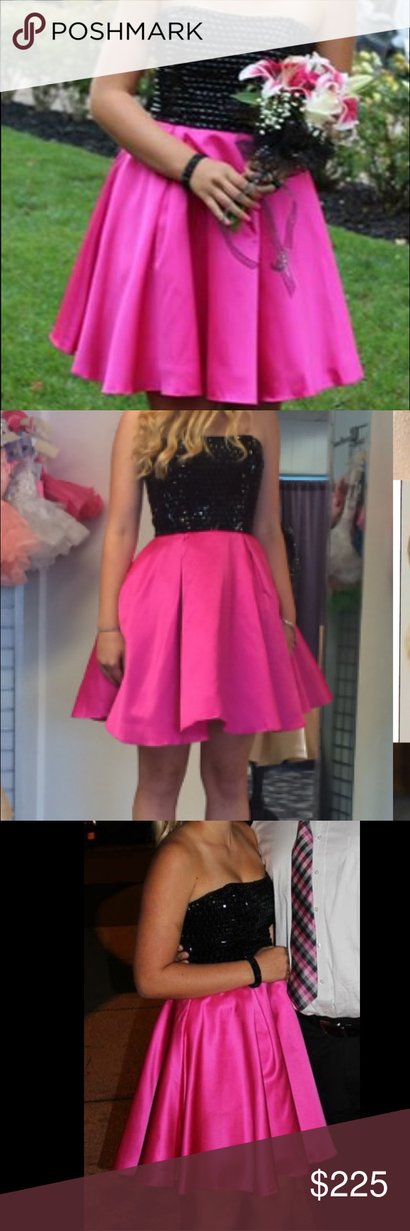 SHERRI HILL DRESS SIZE 6 Pink and Black Sherri Hill dress, size 6 selling for $200 Only worn for a few hours!! Sherri Hill Dresses Prom