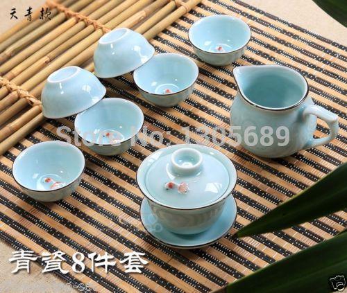 Find More Coffee Tea Sets Information About Porcelain Tea Set Blue Retail And Wholesale Gaiwan Tea Cup Fish Design Chinese Tea Set Porcelain Tea Set Tea Set