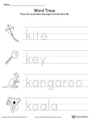 Trace Words That Begin With Letter Sound K Alphabet Worksheets Preschool Preschool Writing Letter Sounds Letter k tracing worksheets preschool