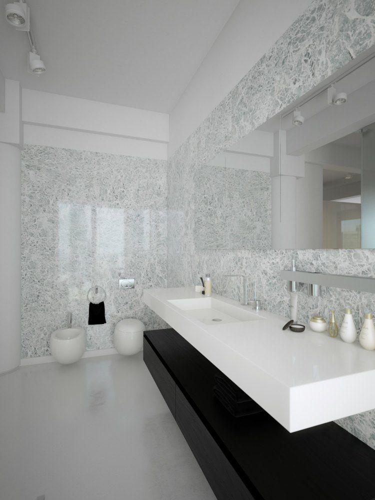 #Badezimmer Schwarz Weiß Badezimmer: Ein Elegantes Und Modernes Zimmer # Schwarz