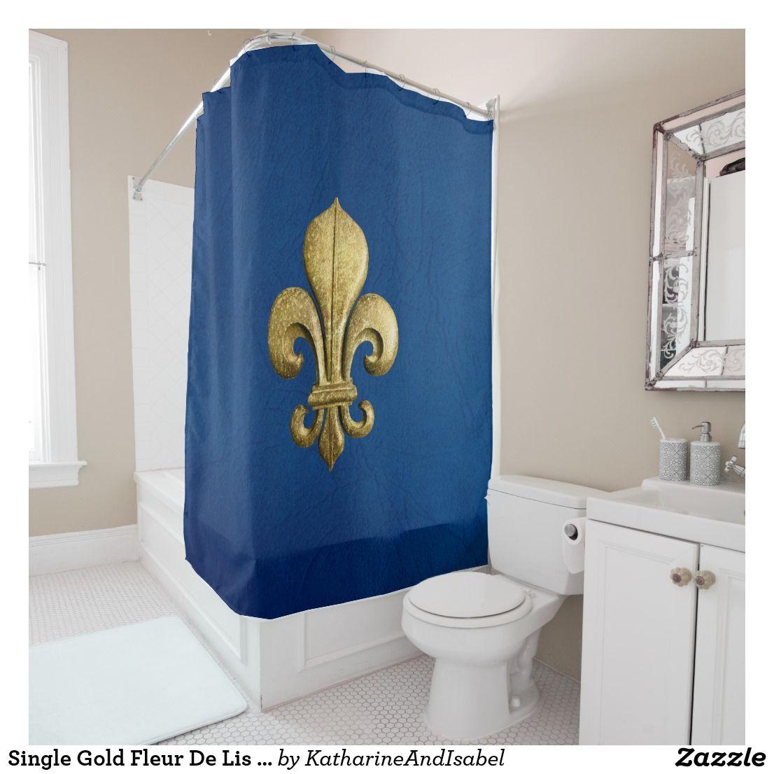 Single Gold Fleur De Lis on Blue Shower Curtain | Blue shower ...