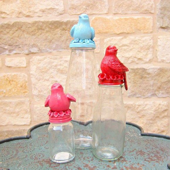 Bird topped jars tutorial - dollar store craft!