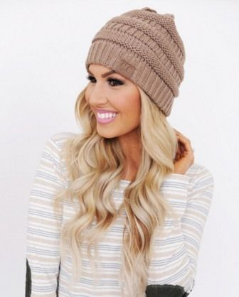 c50cd7155cb The slouchy khaki knit CC Beanie is a must for winter. Check out the other  colors available here. Please note- All head wear is all sales final.