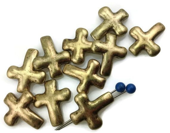 10 Cross Antique Gold 2 Hole Slider Beads by MobileBoutiqueshop