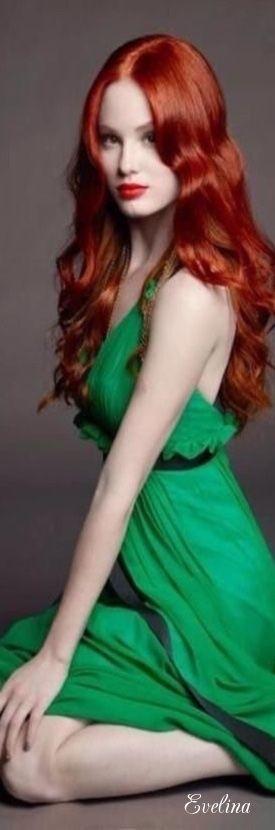 Redhead Green Prom Dress