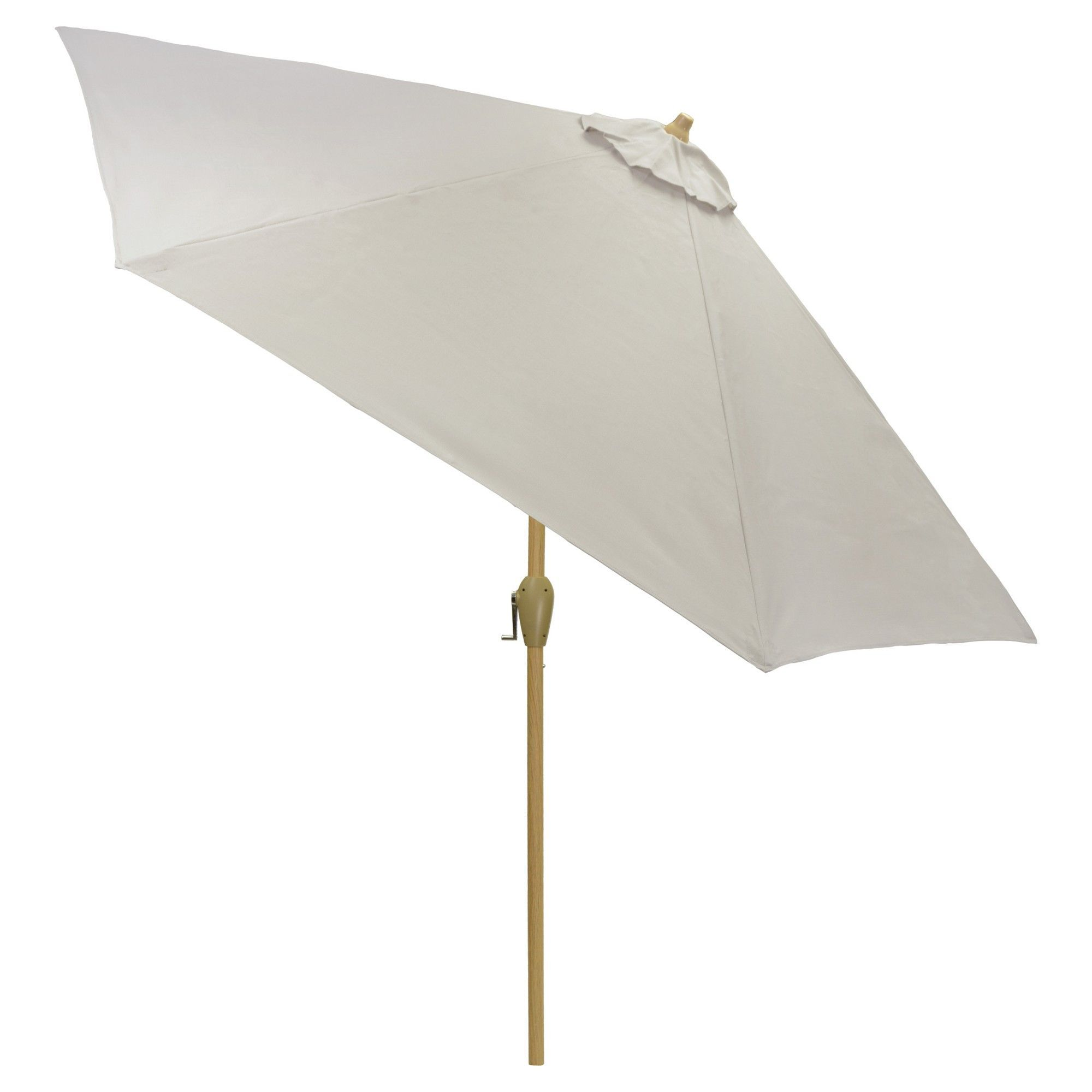 9 Round Sling Patio Umbrella Dove Gray Light Wood Pole