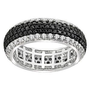 14k White Gold Black and White Diamond Micro Pave Eternity Ring (2 1/7 cttw, H-I Color, I1-I2 Clarity), Size 8