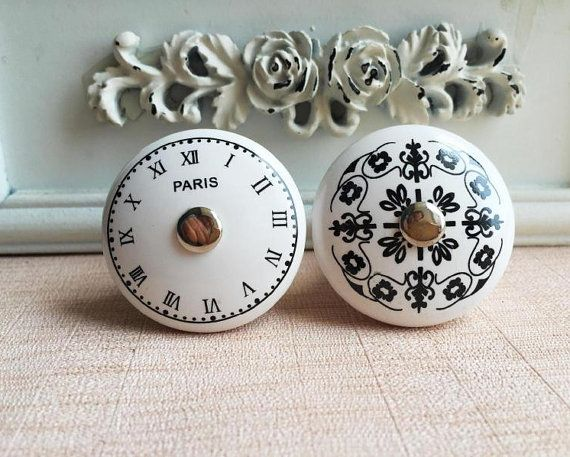 Noir Blanc Ceramique Horloge Fleur Dresser Boutons Poignees