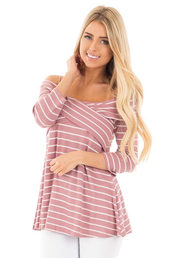 593139a347ba1 Lime Lush Boutique - Mauve Striped Waffle Knit Off Shoulder Wrap Style Top