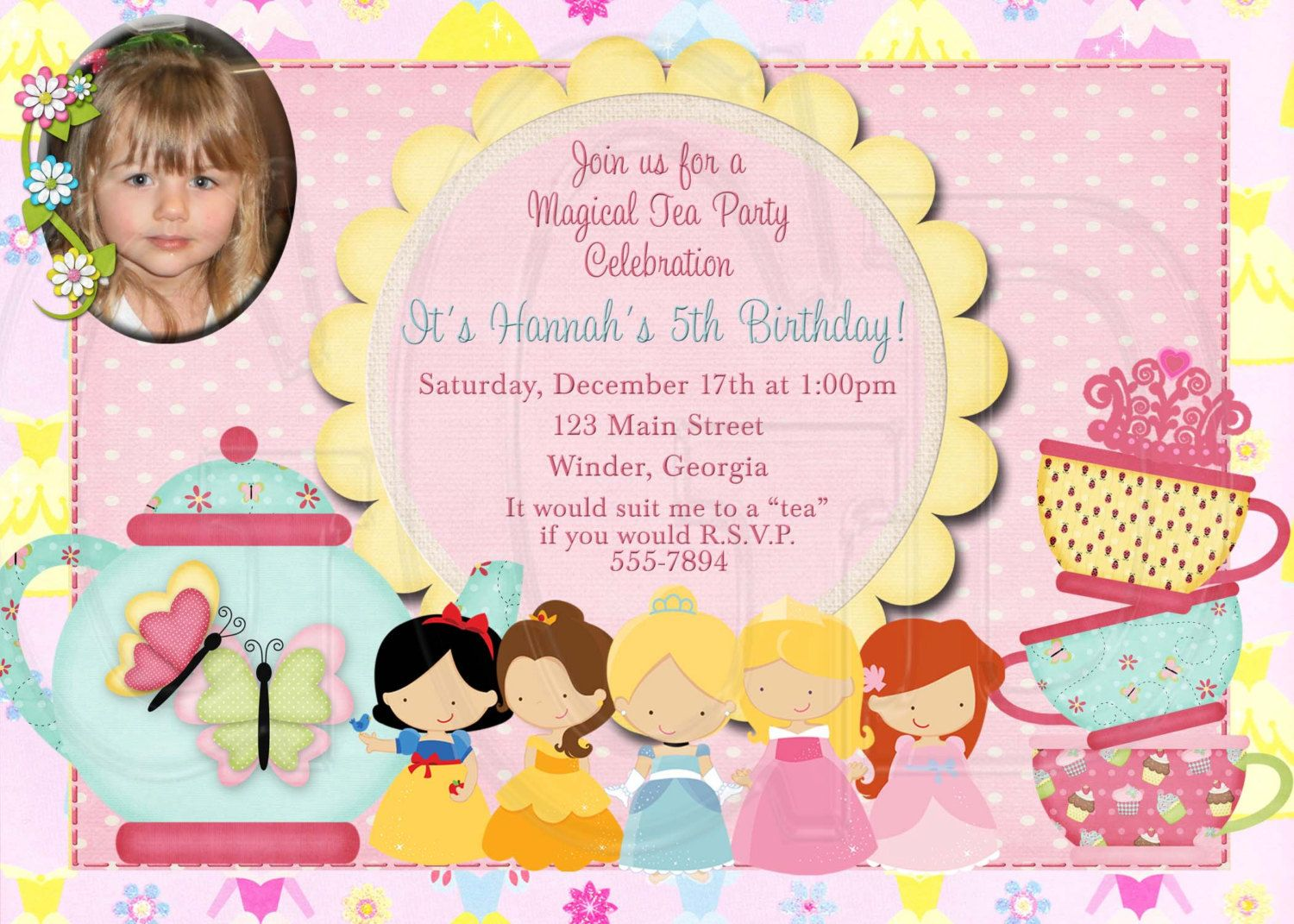 Tea Party Invitation Birthday Princess TeaDigital File 1200 – Tea Birthday Party Invitations